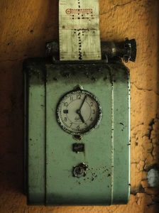 time clock, time card